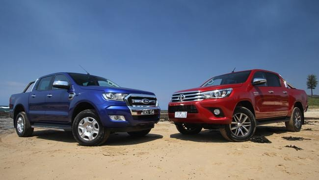 The Ford Ranger (left) and Toyota HiLux (right) continue to top the charts and increase their sales lead over conventional passenger cars. Picture: Joshua Dowling.