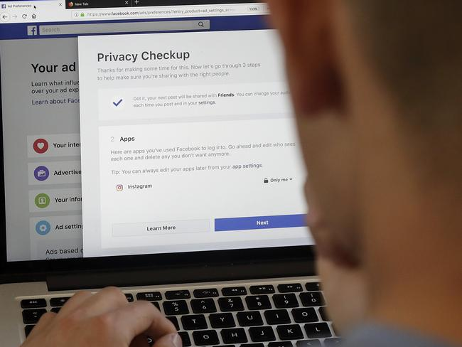 Facebook is giving its privacy tools a makeover as it reels from criticisms over its data practices. Picture: AP Photo/Jeff Chiu