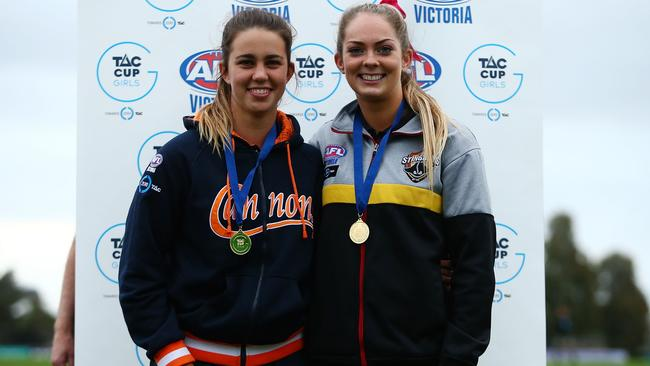 Chloe Molloy and Bridie Kennedy were joint best and fairest winners for the TAC Cup Girls competition. Photo: Jack Thomas/AFL Media/Getty Images