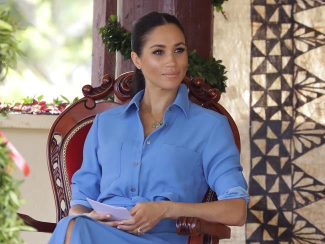 The Duchess wore a mid-length sky-blue $AU840 Cary dress by American label Veronica Beard, with rolled up sleeves.