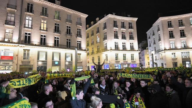 FC Nantes football club supporters gather in Nantes after it was announced that the plane Argentinian forward Emiliano Sala was flying on vanished