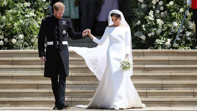 Meghan Markle and Prince Harry pictured on their wedding day at St George's Chapel in Windsor. Picture: Givenchy/ MEGA