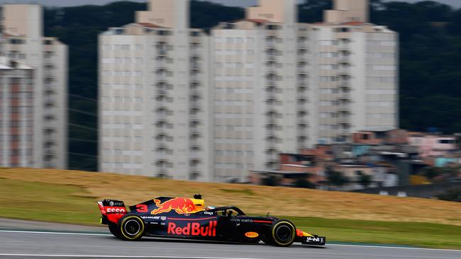 Daniel Ricciardo of Australia driving the (3) Aston Martin Red Bull Racing RB14 TAG Heuer on track during practice for the Formula One Grand Prix of Brazil. Picture: Getty Images