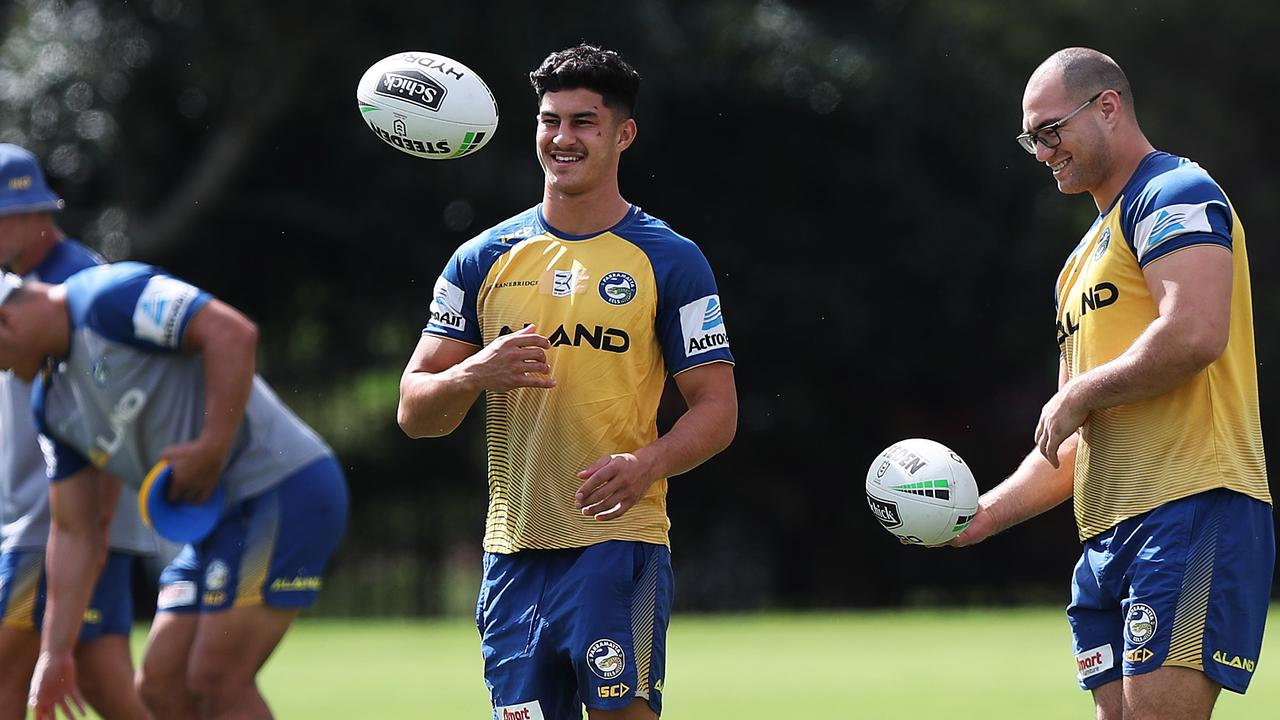 Dylan Brown (C) during Parramatta Eels NRL training at Old Saleyards Reserve, Parramatta. Picture: Brett Costello