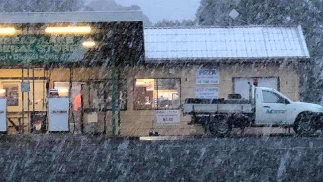 Snow at Great Lake Hotel on Tasmania's Central Plateau. Picture: Great Lake Hotel