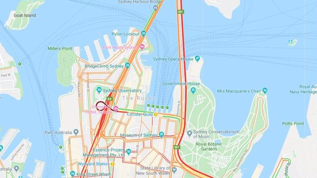 The typical traffic in Sydney's CBD during the weekday peak. The Sydney Harbour Tunnel, Eastern Distributor (right) and Western Distributor (left) are all clogged. Picture: Google Maps