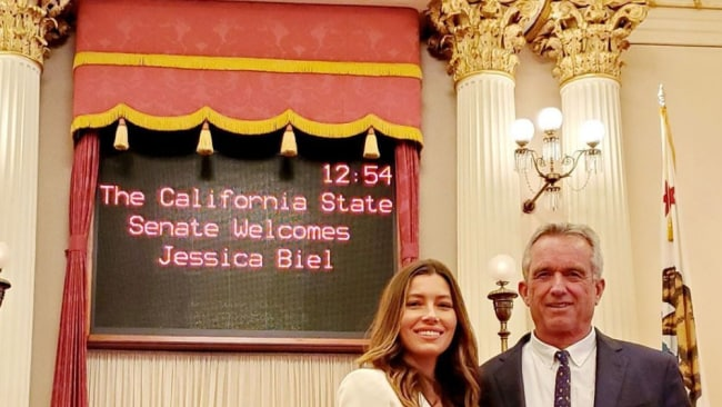 Biel was welcomed at the Californian State Assembly. Picture: Instagram.