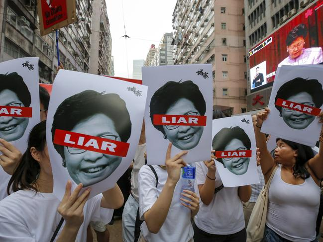 Hong Kong witnessed its largest street protest in at least 15 years on Sunday in a major backlash against the city's pro-Beijing leadership. Picture: AP Photo/Kin Cheung