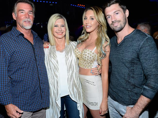 Olivia Newton-John with her husband John Easterling, her daughter, Chloe Lattanzi, and Chloe's fiance James Driskill. Picture: WireImage