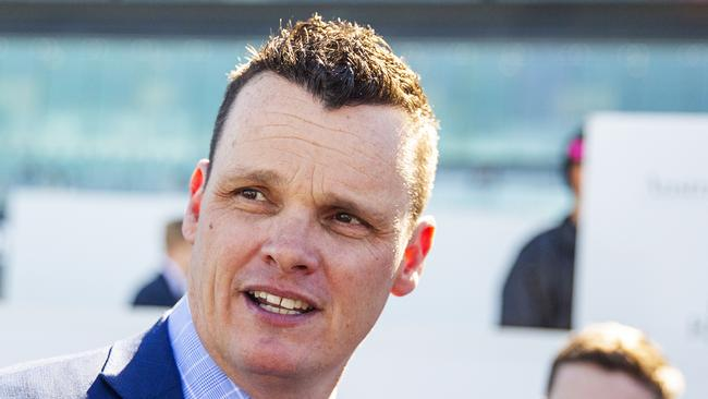 Trainer Joe Pride has a nervous 15 minute period on Saturday. Picture: Jenny Evans
