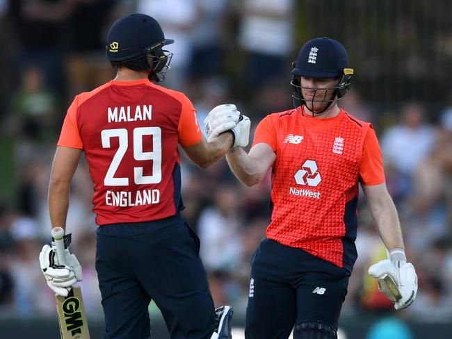 Dawid Malan and Eoin Morgan collectively hit 29 boundaries on Friday evening. (Photo by Gareth Copley/Getty Images)