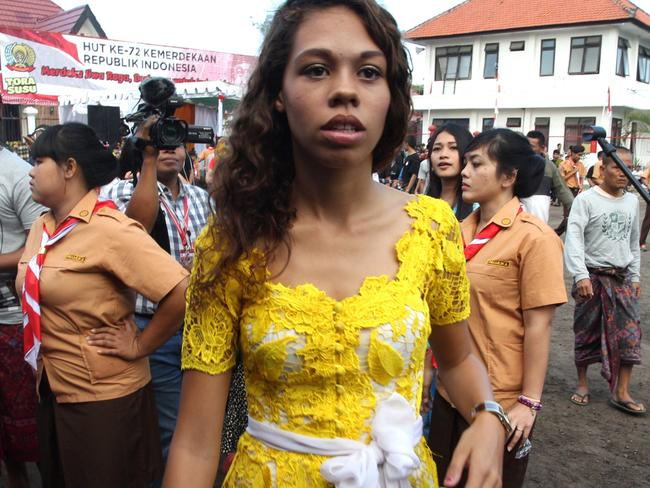 American woman Heather Mack, serving 10 years for killing her mother, during today's Independence Day ceremony in Kerobokan prison. Picture: Lukman S Bintoro.