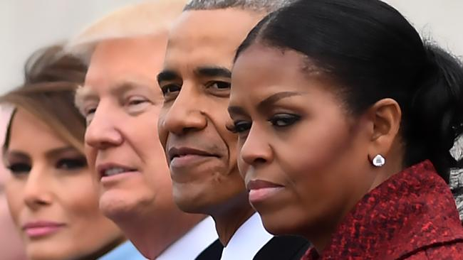 "Michelle Obama previously made headlines after claiming she ""stopped even trying to smile"" as the new President took over the top job. Picture: Jim Watson/AFP"