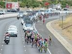 The view from the MajorsRd overpass as riders come along the Southern Expressway on Stage 3 of the 2016 Tour Down Under. Picture: Tom Huntley