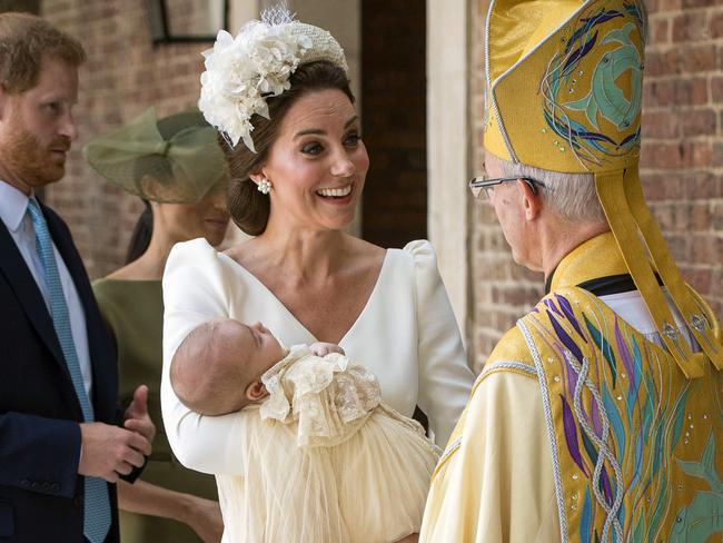 The Duchess of Cambridge told Archbishop of Canterbury Justin Welby her son was 'relaxed and peaceful ... let's hope he stays like this. Picture: Dominic Lipinski/Pool Photo via AP