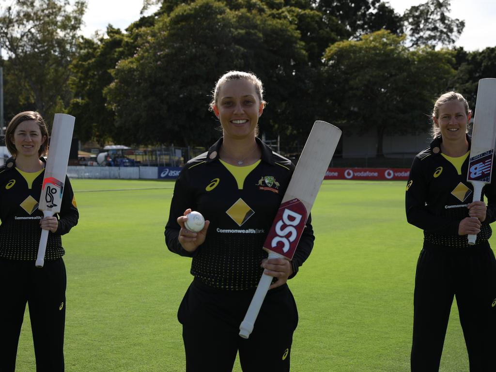 Gardner (front), Meg Lanning (right) and Rachael Haynes. Picture: Cricket Australia