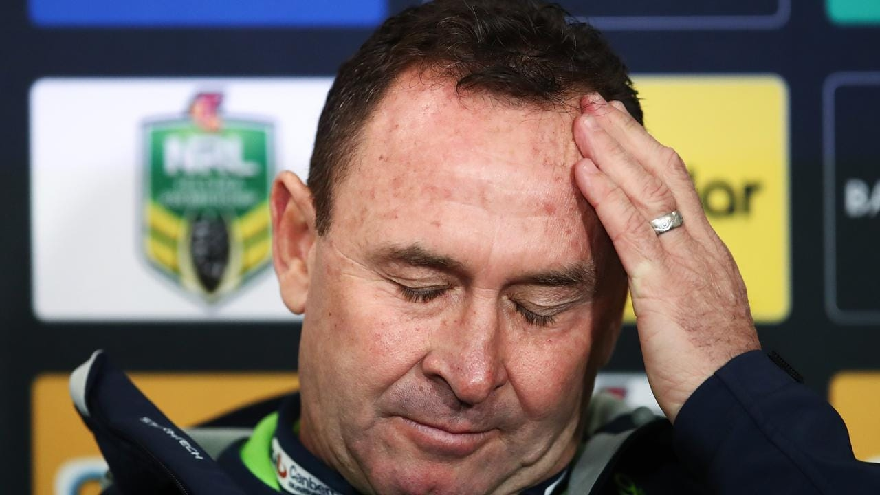 Raiders coach Ricky Stuart has been known to lose it