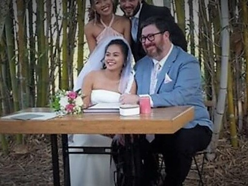 A smiling George Christensen at his wedding to his long-term girlfriend, April Ascuncion.