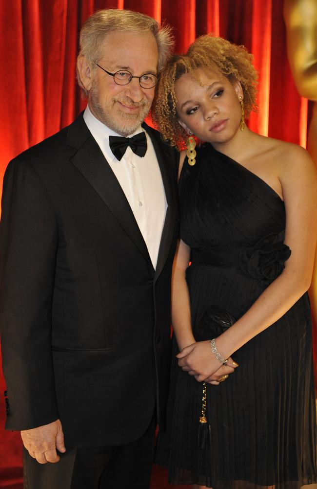 Steven Spielberg and his daughter Mikaela at the Academy Awards in 2009. Picture: AP Photo/Chris Carlson