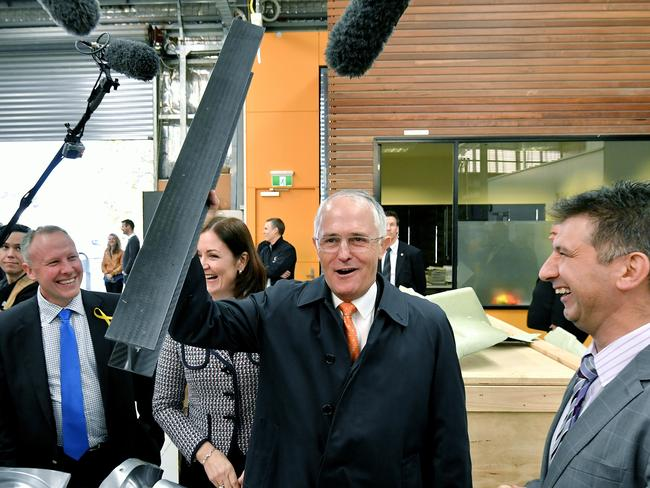 Prime Minister Malcolm Turnbull at advanced carbon fibre manufacturer Quickstep in Geelong. Picture: Jason Edwards