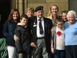 Not marching but supporting from the sidelines, WWII vet Bill Atkins, 90, with his family at the Anzac Day memorial parade, Adelaide. Picture: Tricia Watkinson
