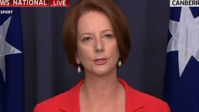 Julia Gillard speaks after her victory in the Labor leadership ballot. Picture: Courtesy of Sky News