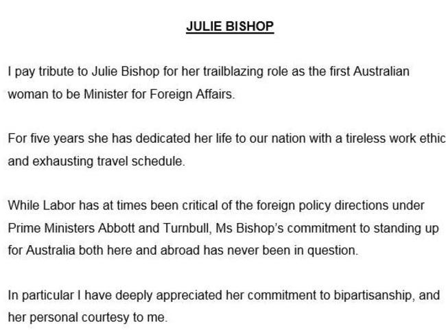 Shadow Foreign Affairs minister Penny Wong's warm tribute to Julie Bishop on Sunday.