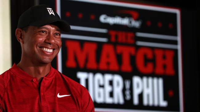 Tiger Woods during a press conference before The Match at Shadow Creek Golf Course in Las Vegas. Picture: Christian Petersen/Getty Images