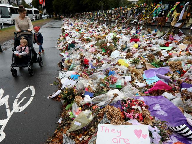 A huge memorial mourned the victims in the Botanical Gardens in Christchurch. Picture: Sanka Vidanagama