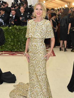 Naomi Watts stands out in a Michael Kors cape and gown. Picture: AFP