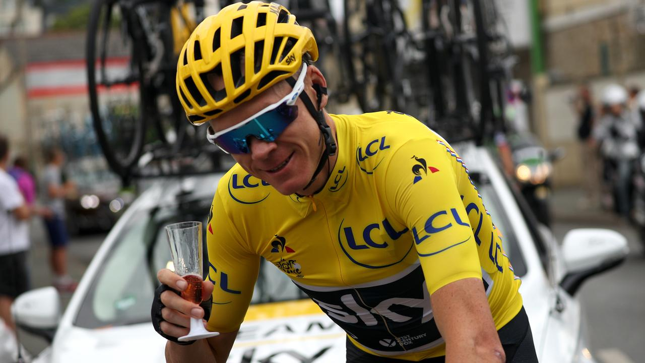 Cheers to that! Four-time Tour de France winner Christopher Froome of Team Sky, now set to be Team Ineos after a takeover by Britain's richest man.