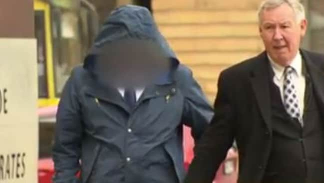 Tony Munro (left) arrives with his lawyer at Adelaide Magistrates Court earlier this year, before he was to plead guilty to historical child sex offences. Picture: Channel Seven