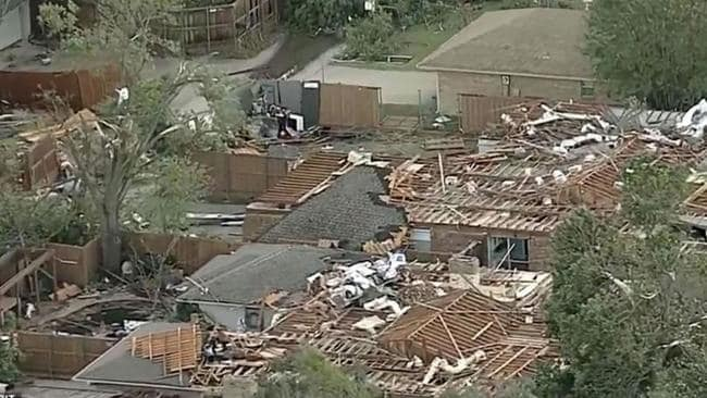 Devastating aerial footage has since emerged showing the destruction caused by the tornado after it touched down in Dallas. Picture: KTVT