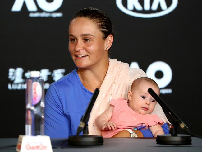Ash Barty on the podium with her niece