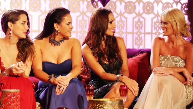 Tense entrance ... Heather, Nina and Snezana were shocked to meet intruder Rachel when she arrived at the mansion.