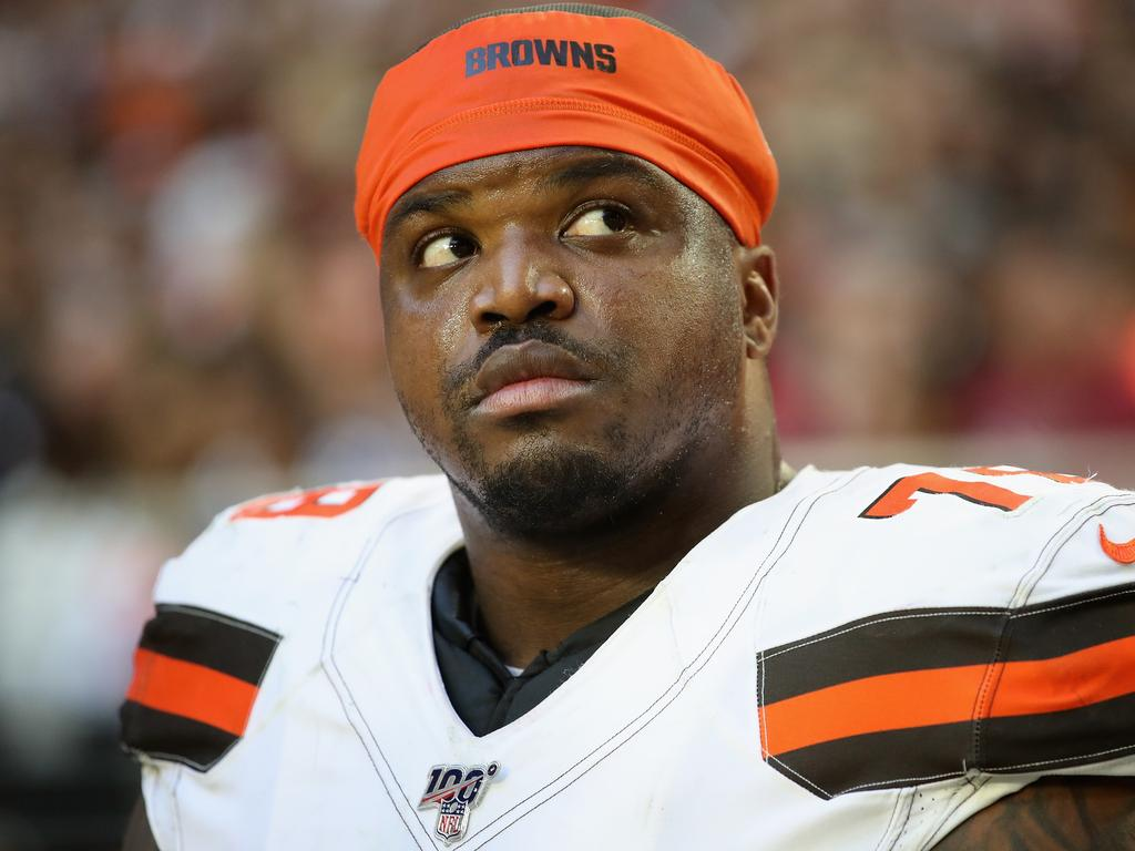 GLENDALE, ARIZONA - DECEMBER 15: Offensive tackle Greg Robinson #78 of the Cleveland Browns on the bench during the second half of the NFL game against the Arizona Cardinals at State Farm Stadium on December 15, 2019 in Glendale, Arizona. The Cardinals defeated the Browns 38-24. (Photo by Christian Petersen/Getty Images)
