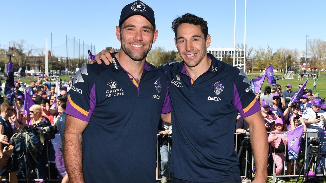 Melbourne Storm captain Cameron Smith and Billy Slater after their grand final loss to the Roosters in 2018. (AAP Image/James Ross)