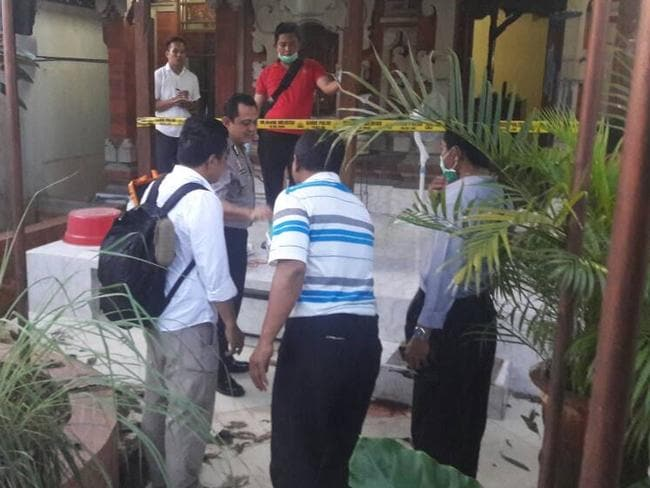 The scene of a suspected murder in Sanur, Indonesia.