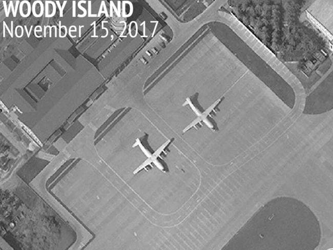 A satellite image of Woody Island in the Paracel island chain in the South China Sea. Two Chinese Y-8 military transport aircraft are there. Picture: AP