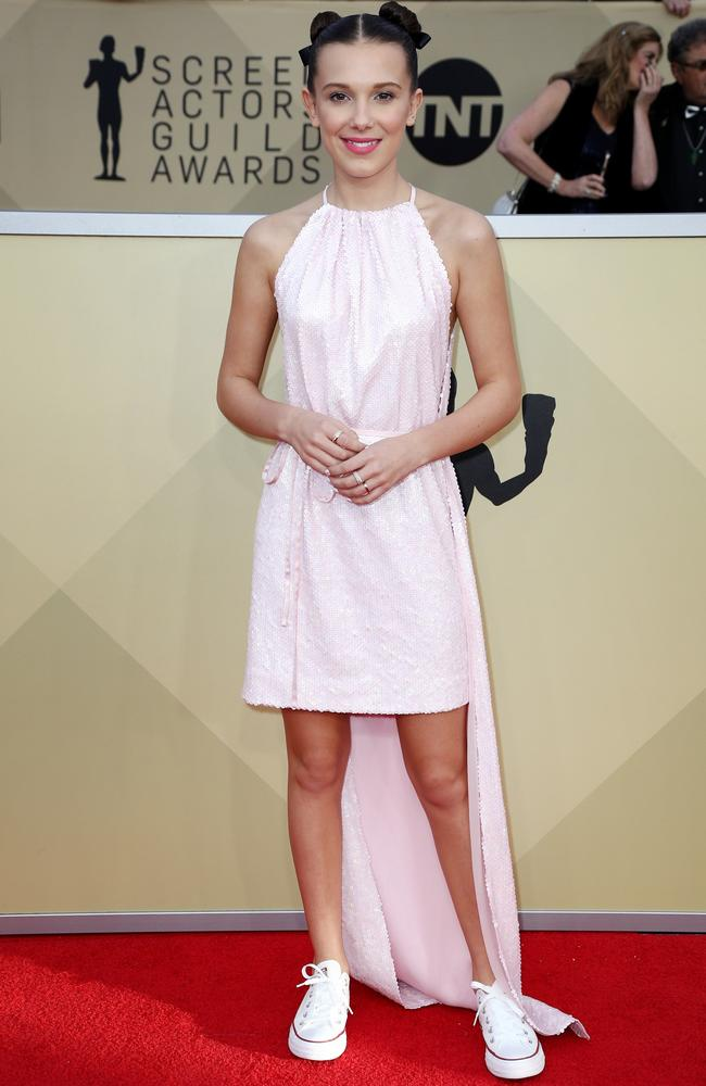 Millie Bobby Brown at the 24th Annual Screen Actors Guild Awards at The Shrine Auditorium in Los Angeles in January. Picture: AFP