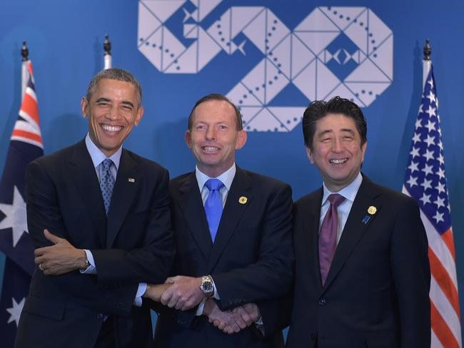Historic....The United States, Australia and Japan have met on the last day of the G20 for historic trilateral talks, the first since 2007. Picture: AFP/Mandel Ngan