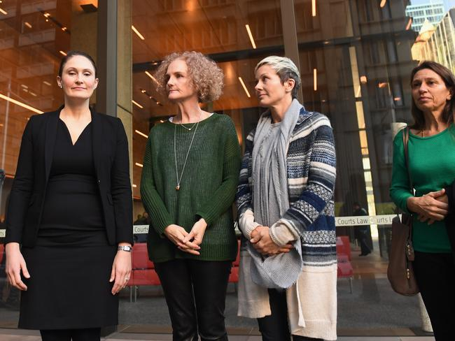 Lawyer Rebecca Jancauskas joins members of the class action against Johnson & Johnson, Gai Thompson, Joanne Maninon and Carina Anderson in 2017. Picture: Paul Miller/AAP