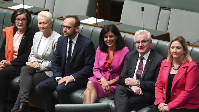 Crossbench MPs Cathy McGowan, Kerryn Phelps, Adam Bandt, Julia Banks, Andrew Wilkie and Rebekha Sharkie. Picture: AAP