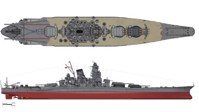 A plan-view of the Yamato class of battleships. Source: WikiPedia