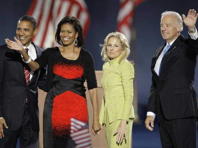 Then US President-elect Barack Obama and his wife, Michelle, (L) and Vice President-elect Joe Biden and his wife, Jill in 2008. Picture: AP