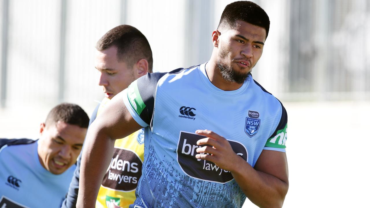 Payne Haas during the NSW State of Origin training session at the NSWRL Centre of Excellence.
