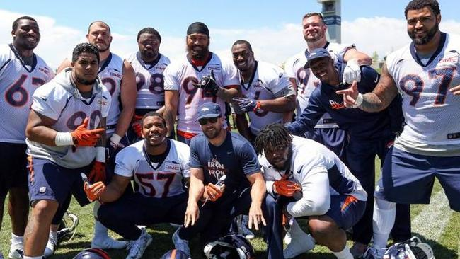 Adam Gotsis, back row, second from left, with teammates Photo: Ben Swanson, Denver Broncos