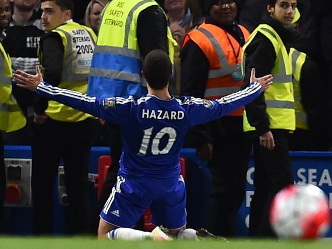 Eden Hazard celebrates the goal that won Leicester the EPL title.