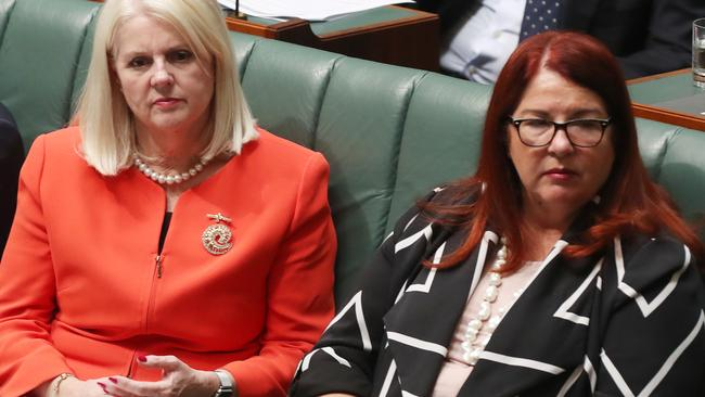 Karen Andrews is in more of an orange, but Melissa Price's hair is red, so it totally counts. Pic: Kym Smith