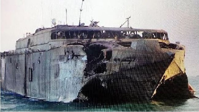The burnt-out wreck of the Incat-built HSV Swift, a protytpe vessel used by Saudi Arabia after having served with the US Navy. It was struck by a missile of the coast of Yemen.